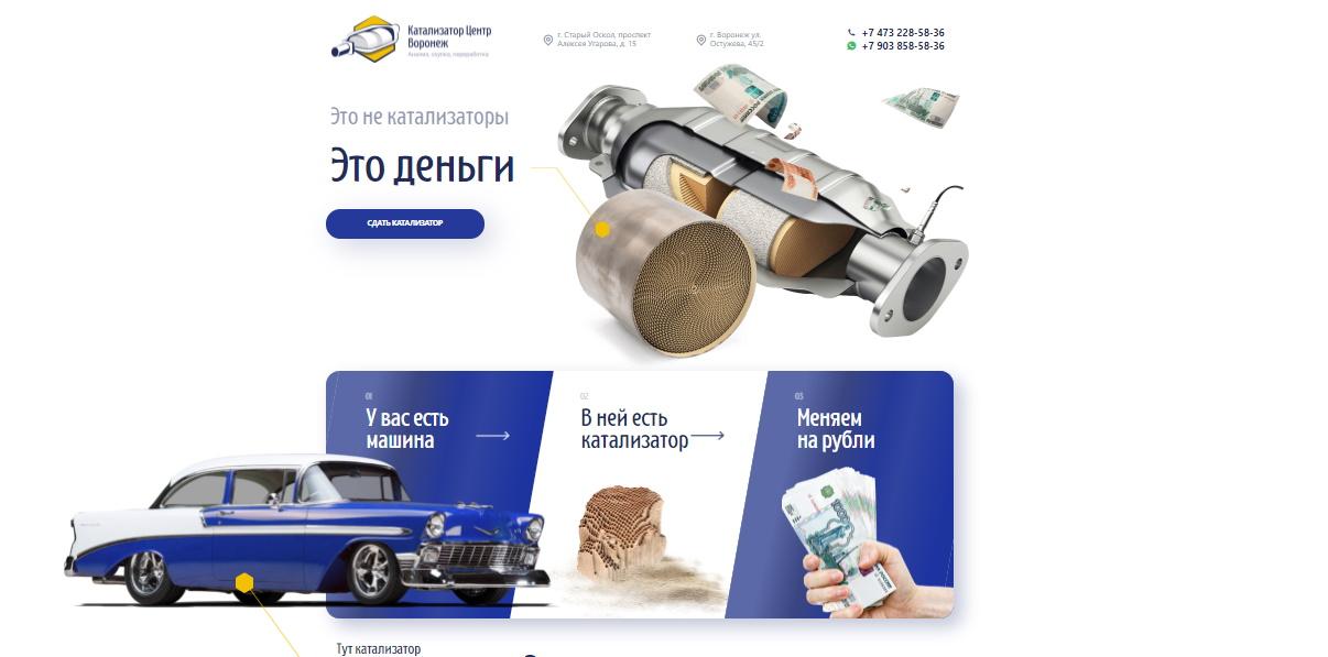 Лендинг Катализатор Центр Воронеж — Прием катализаторов